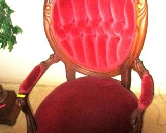 Victorian hoop back parlor chair