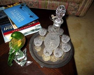 Crystal decanter  with cups