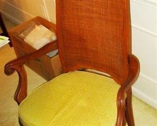 Wicker back chair with dinning table