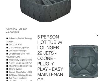 Brand NEW hot tub!!! Still in packaging and on pallet.  5 person hot tub (retails for $2,899)......our price $2200