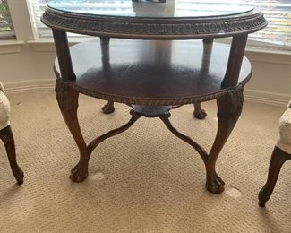 $395~ TWO TIER WALNUT CLAW FOOT TABLE