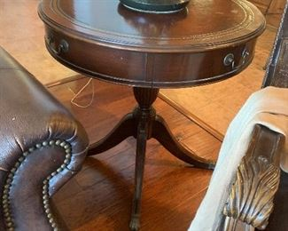 $325~ OBO~  DUNCAN PHYE LEATHER ACCENT DRUM TABLE WITH BRASS CLAW FEET AND ONE DRAWER
