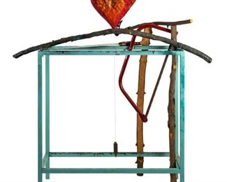 "Jim Dine (American, born 1935). Painted bronze mixed media art sculpture. Titled ""Cheer Up, My Sisters"" Circa 1988. Features red heart, saws, and tree branches. Original The Pace Gallery Label to underside."