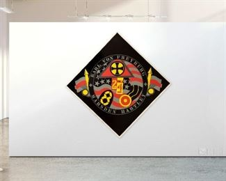 "Robert Indiana (American, 1928-2018). Limited Edition serigraph on Saunders watercolor paper. Features the work titled, ""The Hartley Elegies: The Berlin Series - KvF VII."" A fusion of military and historic symbols created in the style of and inspired by Marsden Hartley's War Motif series. Signed in pencil, titled and numbered 7/50. Stamp on verso reads ""© Robert Indiana 1990."" Unframed. Fair overall condition with wear, moisture damage and creasing to two corners. Measures approximately 59 1/2 in. x 59 1/2 in. Hill Auction Gallery will not ship. Gallery will refer local third party USA and international shippers. Purchaser pick up available upon request."