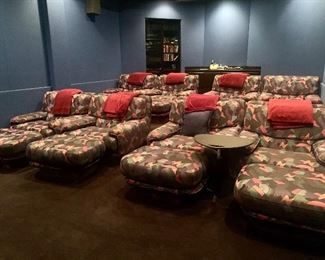 **6 have sold & 2 are remaining. Home theater seating, 8 oversized chairs/ottomans (with side tables), all priced individually