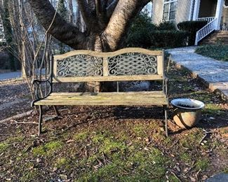 Great wood and cast iron bench, flower pot