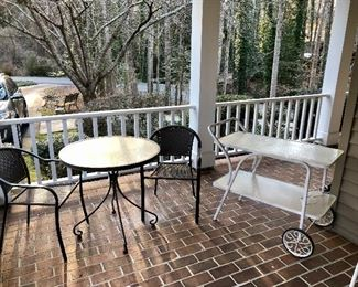 Table for 2 and a vintage metal tea cart