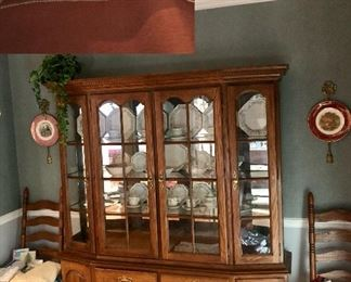 Temple Stuart china cabinet. Two of 8 ladder back chairs