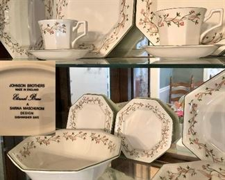 Johnson Brothers China Eternal Beau, place setting for 8 plus cream, sugar, and serving pieces.