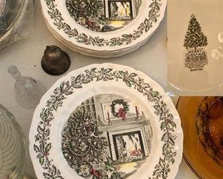 "Johnson Brothers ""Merry  Christmas"" 11 plates"