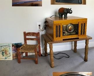 Crosley turn table and radio, small child chair