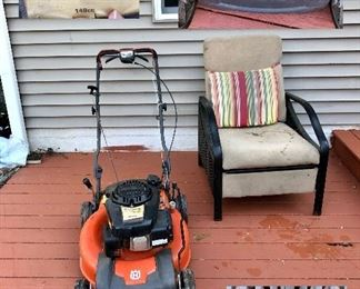 Husqvarna lawnmower, outdoor chair