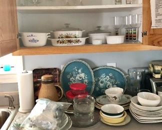 corning ware, tin blue trays, bowls glasses and more