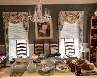 """4 of 10 ladder back chairs,  corner cabinet,  amber plates, Johnson Brothers """"Merry Christmas"""" plates and more."""