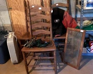 3 ladder back chairs, found another GA Bulldog jacket, electric fan and more