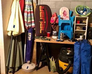 Pool umbrellas, shop vac and more