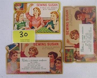 Vintage mid century sewing needle packs
