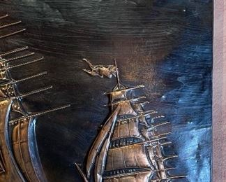 Caliban Chile Hammered Copper Ship Art12x23in