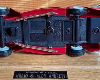 *Signed* Mario & Aldo Andretti ERTL 1940 Ford Model in display caseCase: 5.5x11x6.5inHxWxD