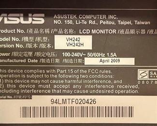 Asus 23.6in LCD HD Computer Monitor VH24216x22x9inHxWxD