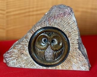 Glenn Heath Carved Stone Owl Sculpture6x7.75x4inHxWxD