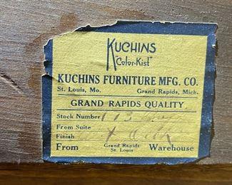 Antique Kuchins Furniture Oak Sideboard Cabinet38x50x17inHxWxD