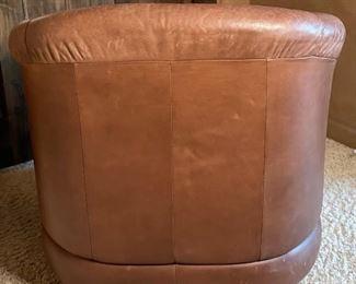 #2 Robb & Stucky Leather Club Swivel Chair32x33x33inHxWxD