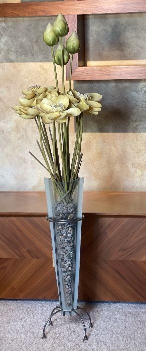 Faux Flower Decor Glass/Iron Vase65in H