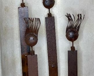 4pc Rustic Metal Art Figures Family of 428in H tallest