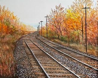 *Original* Art Herbert Weintraub Train Tracks Painting15x17.75in (frame)