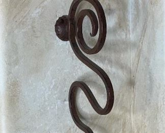 2pc Rustic Metal Artist Made Candle Sconces21x4x7inHxWxD