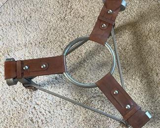Leather Strap Iron & Glass coffee table17in H x 38in DiameterHxWxD