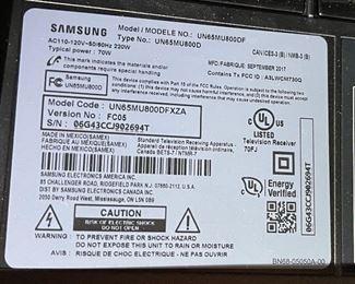 SAMSUNG 65in UHD 4K Smart TV UN65MU800D32.75x57x2inHxWxD