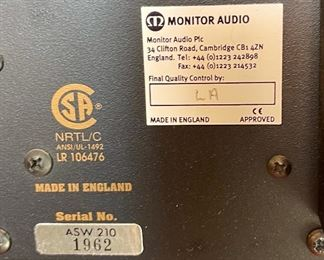 Monitor Audio ASW-210 Powered 10in Subwoofer21x14.5x16.5inHxWxD