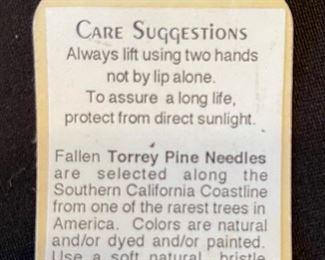 #1 Original Kraynek Prince Torrey Pine Needle Basket9in H x 11in diameter (at widest)