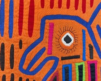 #1 Mola Kuna Indian Tribe Framed Tapestry Art San Blas Islands Panama FramedFrame: 20.75x19.75in