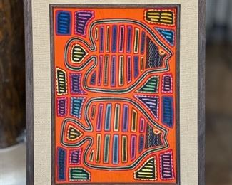 #3 Mola Kuna Indian Tribe Framed Tapestry Art San Blas Islands Panama FramedFrame: 22.75x17.5in