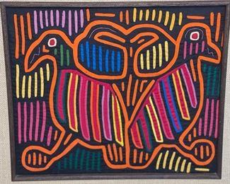 #4 Mola Kuna Indian Tribe Framed Tapestry Art San Blas Islands Panama FramedFrame: 19x21.25in