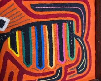 #3 Mola Kuna Indian Tribe Framed Tapestry Art San Blas Islands Panama FramedFrame: 10.75x12.75