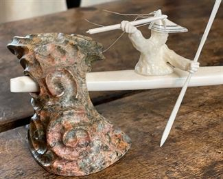 eskimo-Aleut hunter sculpture Ivory and Soapstone Michael Mandregan4.5x9x3inHxWxD