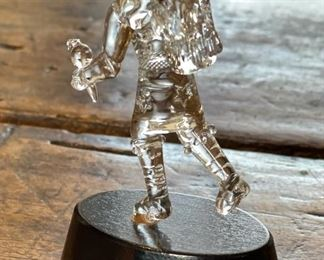 Lewis Wilson Hand Blown Crystal Glass Kachina 4in4.5x1.75x1.75inHxWxD