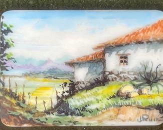 *Original* Set of 7 Jesus Ruiz Mejia Hand Painted Tiny Ivory TilesFrame: 4.75x4.5in Artwork: 1.25x1inHxWxD