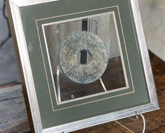4.5in Antique Chinese Stone Coin Medallion   FramedFrame: 11.75x11.75. Coin: 4.5inHxWxD