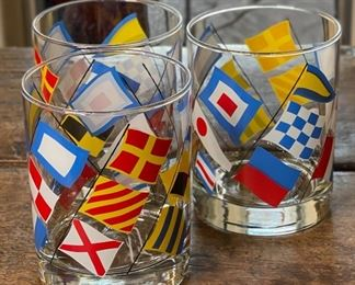 3pc Georges Briard NAUTICAL Flags Highball ROCKS Glass4in H x 3.25in Diameter