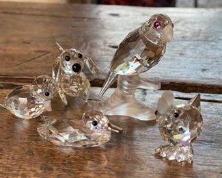 6pc Swarovski Crystal Glass Mini FigurinesTallest: 2.5in