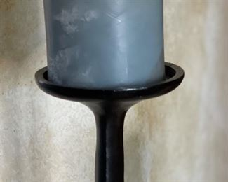 3pc Rustic Wrought Iron Candle Stands41-36-29in heights