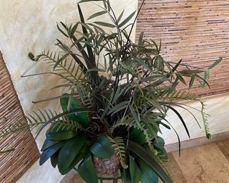 Iron & Glass Faux Plant Stand39in h x 19in diameter