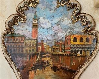 Authentic Venetian Wall Mask Hand Painted Venice Scene22x16x4inHxWxD