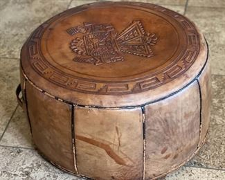 Vintage Hand Tooled Saddle Leather Peruvian  Pouf Ottoman Hassock with Handle10in H x 21in diameter