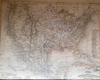Framed Antique Map Print America15x17.5in